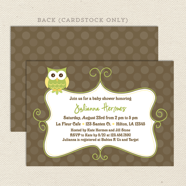 Owl Gender Neutral Baby Shower Invitation Lil Sprout