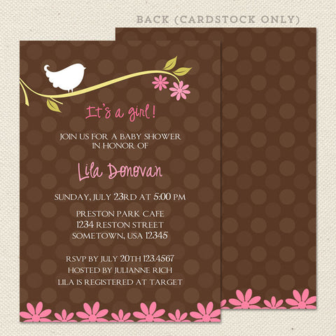 birdie girl baby shower invitation