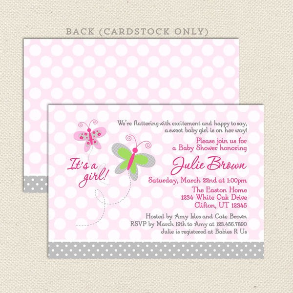 pink butterfly girl baby shower invitation