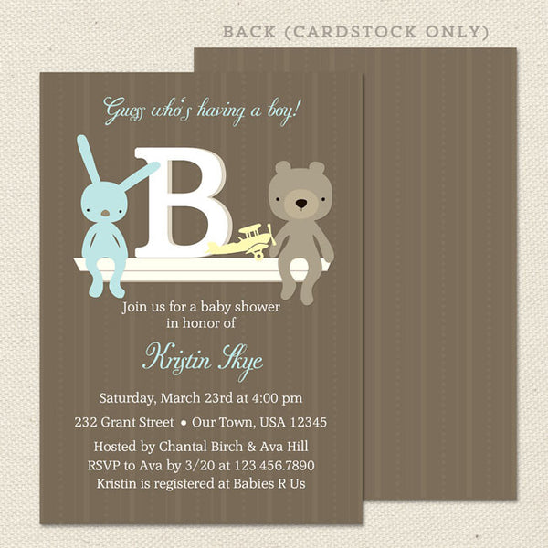 monogram boy baby shower invitation