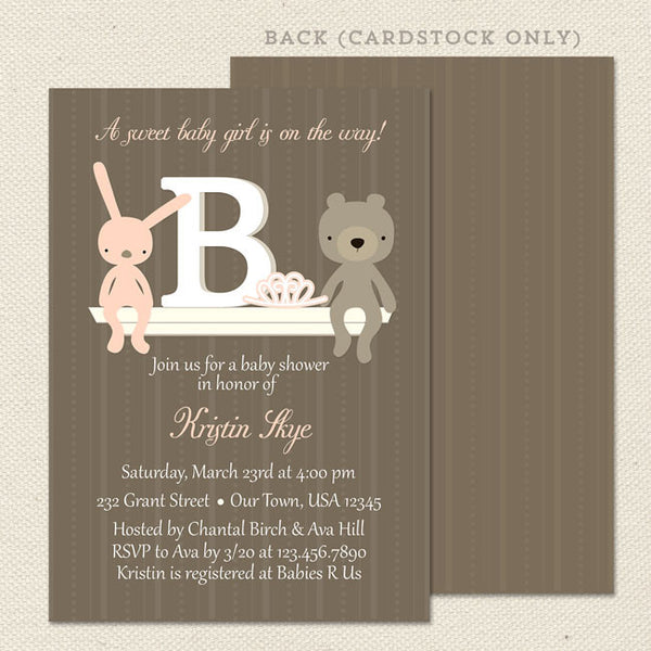 monogram girl baby shower invitation