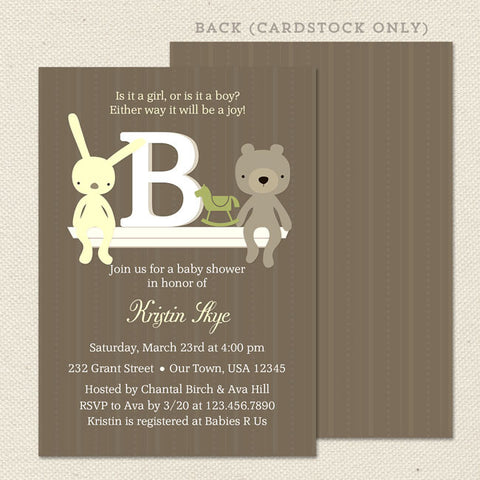 monogram unisex baby shower invitation