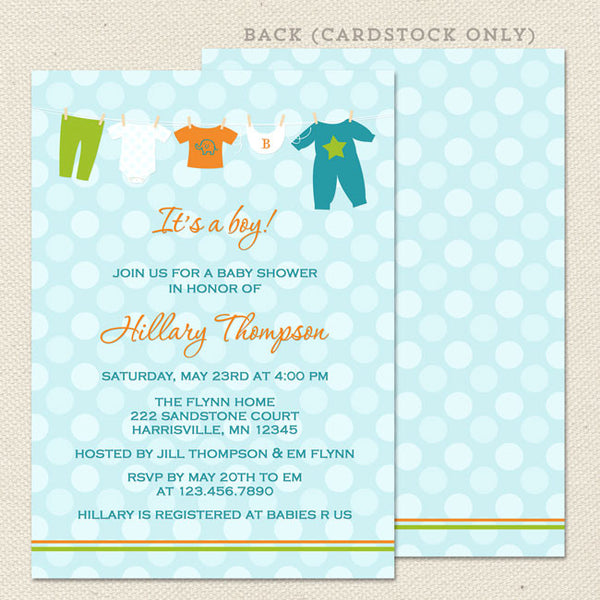 onesie boy baby shower invitation