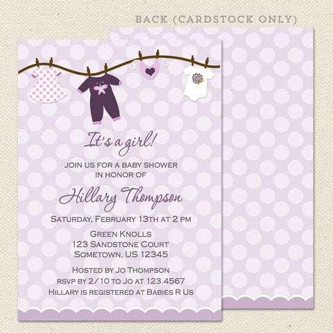 onesie girl baby shower invitation