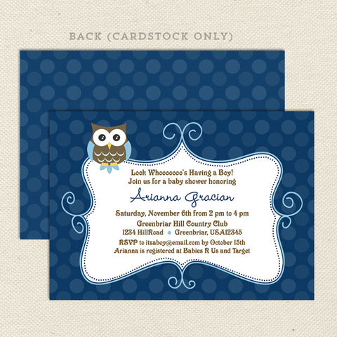 navy blue owl boy baby shower invitation