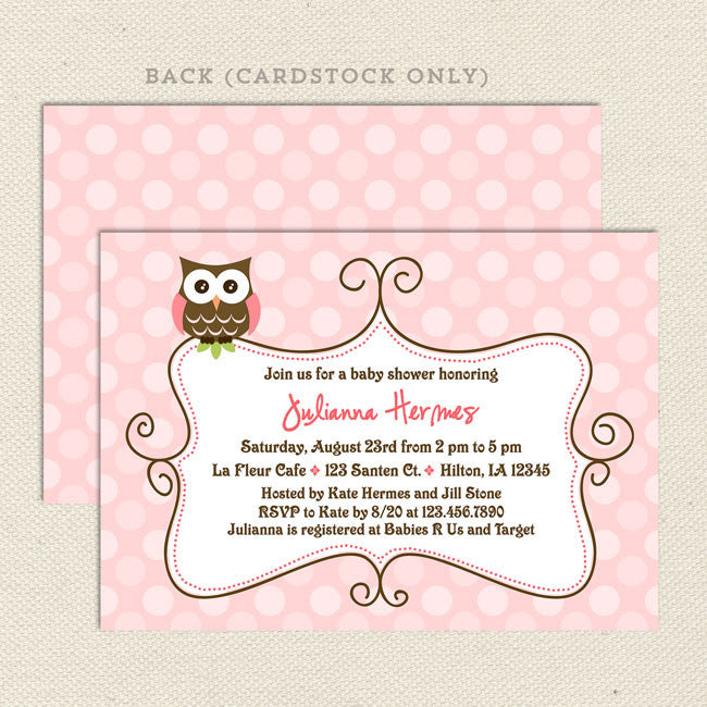 Pink owl girl baby shower invitation lil sprout greetings pink owl girl baby shower invitation filmwisefo