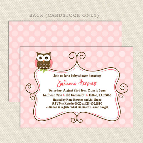 pink owl girl baby shower invitation