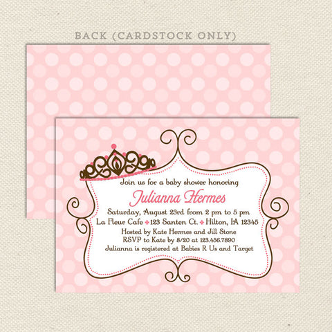 princess girl baby shower invitation