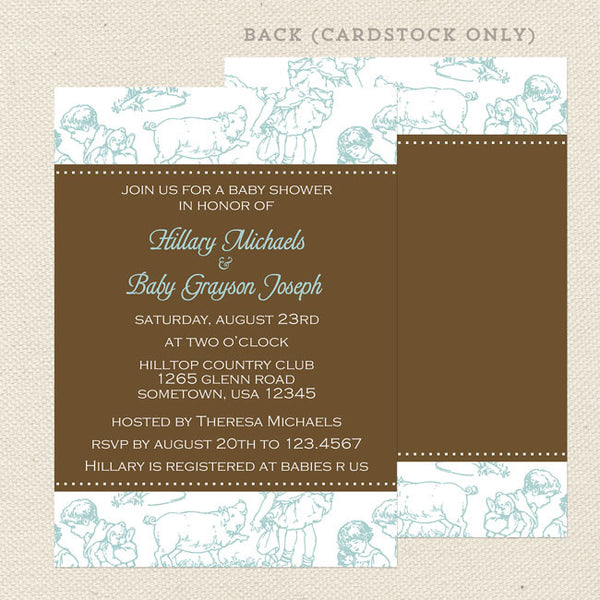 blue toile boy baby shower invitation