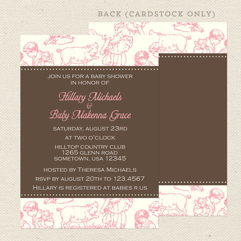 pink toile girl baby shower invitation