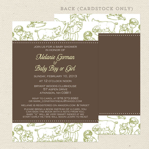 green toile neutral baby shower invitation