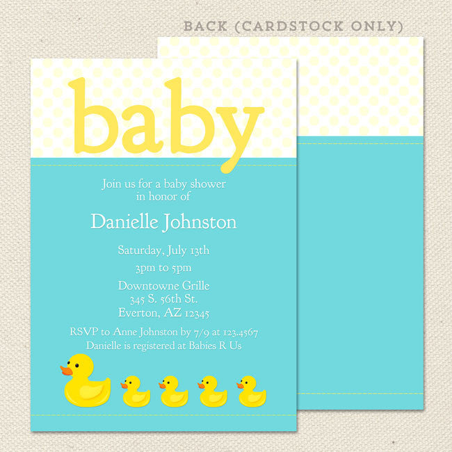 Rubber Ducky Baby Shower Invitation Lil Sprout Greetings