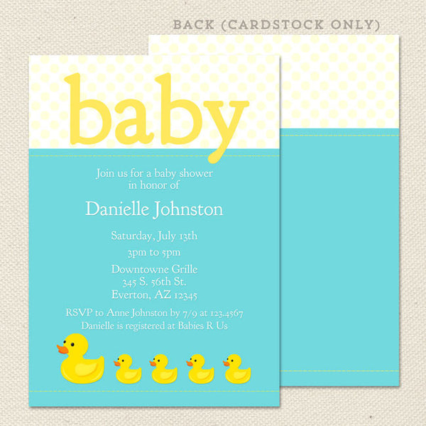 rubber ducky baby shower invitation boy or neutral