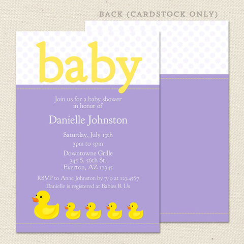 girl rubber ducky baby shower invitation purple