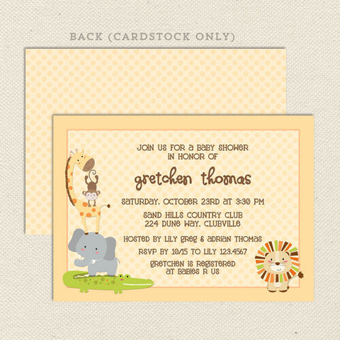safari gender neutral baby shower invitation