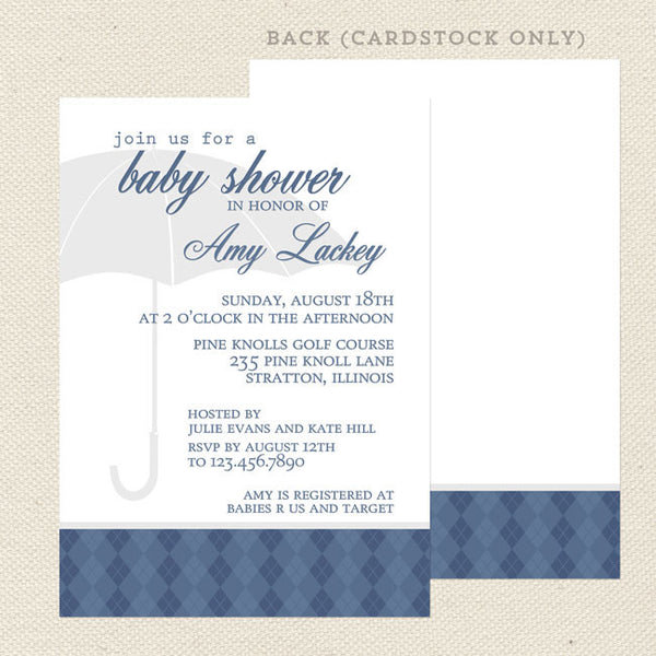 boy sprinkle baby shower invitation blue