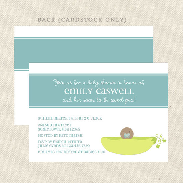 sweet pea boy baby shower invitation blue