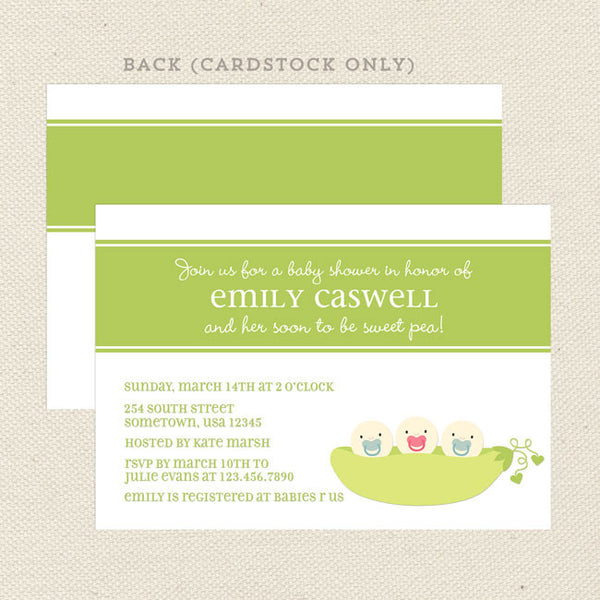 sweet pea gender neutral baby shower invitation