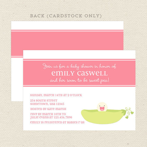 sweet pea girl baby shower invitation