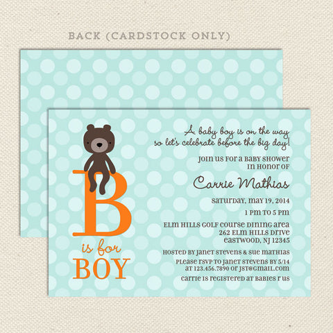 teddy bear boy baby shower invitation