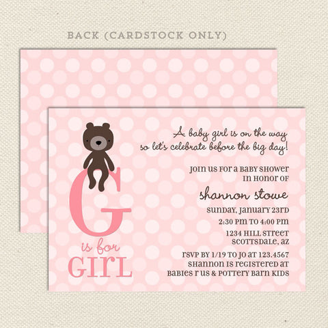 teddy bear girl baby shower invitation
