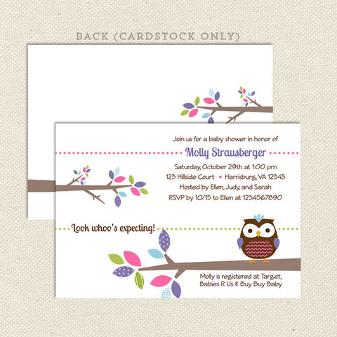 treetop friends owl girl baby shower invitation