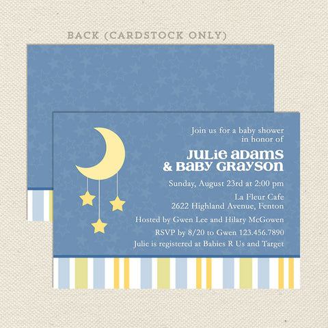 twinkle little star baby shower invitation blue