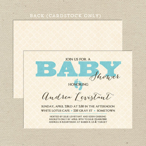 vintage boy baby shower invitation blue
