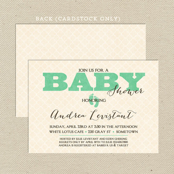 vintage gender neutral baby shower invitation green