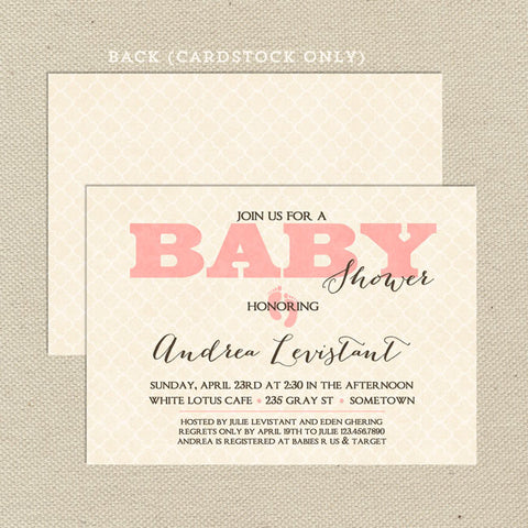 vintage girl baby shower invitation