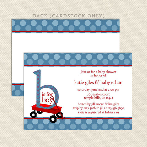 red wagon baby shower invitation boy