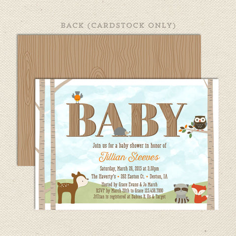 woodland forest friends baby shower invitation