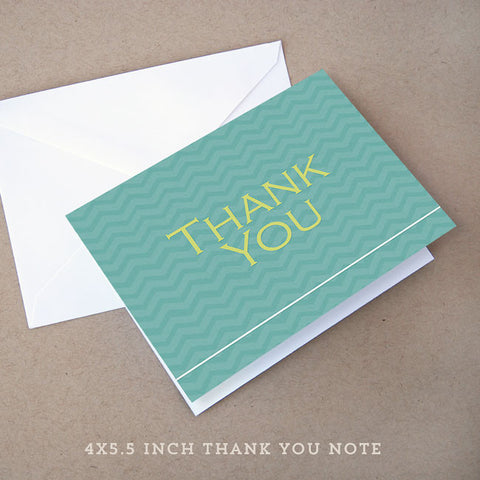 blue chevron baby shower thank you note