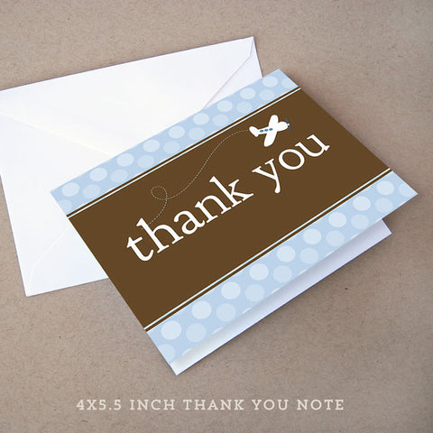 brown airplane baby shower thank you note