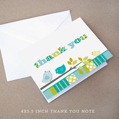 bird boy baby shower thank you note