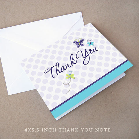 lavender butterfly baby shower thank you note