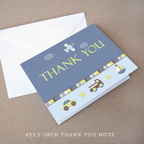 car truck baby shower thank you note