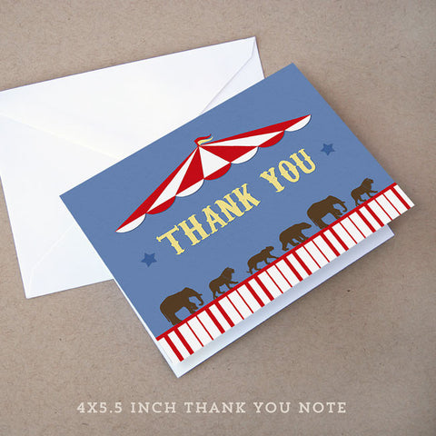 circus big top baby shower thank you note