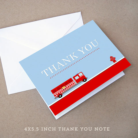fire truck baby shower thank you note