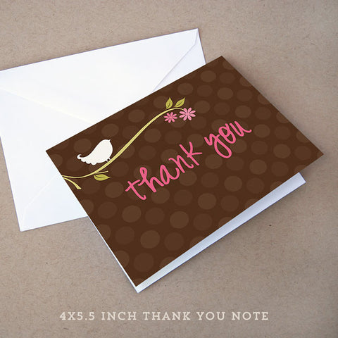 birdie girl baby shower thank you note