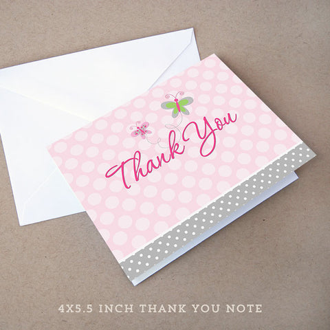 pink butterfly baby shower thank you note
