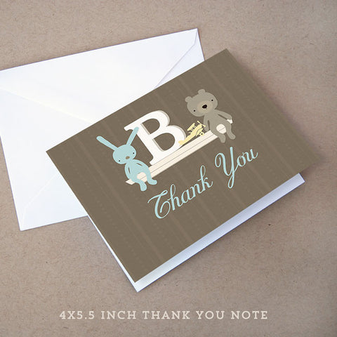 monogram boy baby shower thank you note