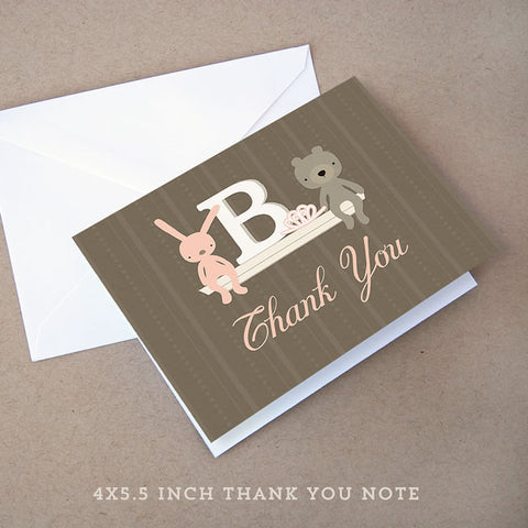 monogram girl baby shower thank you note