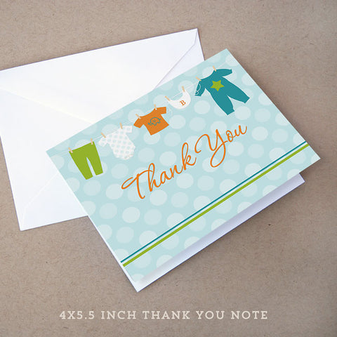 onesie boy baby shower thank you note