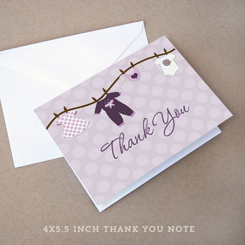 onesie girl baby shower thank you note