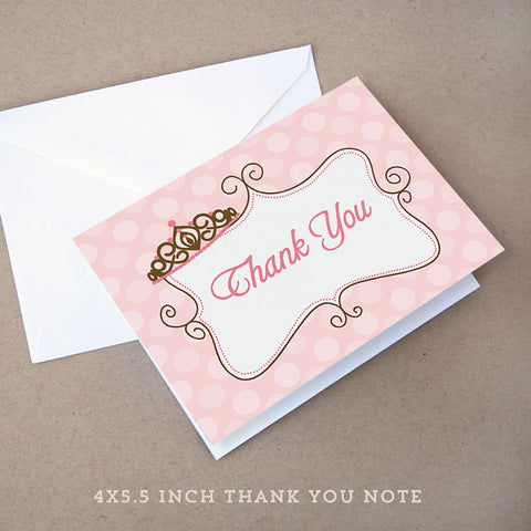 princess baby shower thank you note