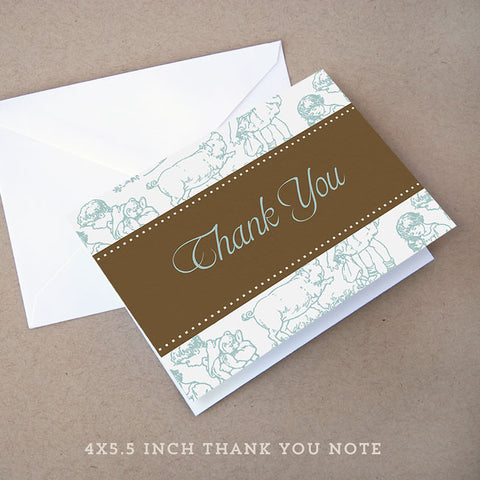toile boy baby shower thank you note