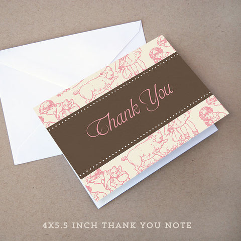 toile girl baby shower thank you note