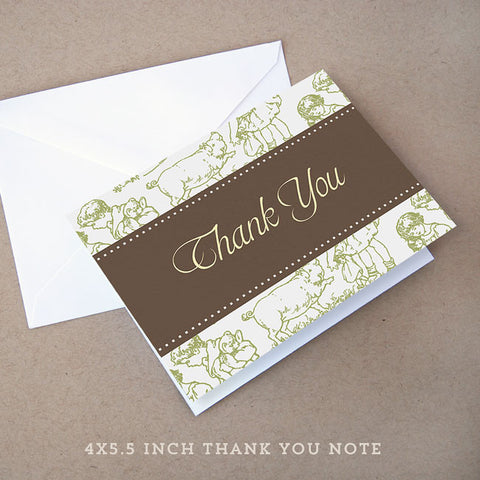 green toile baby shower thank you note