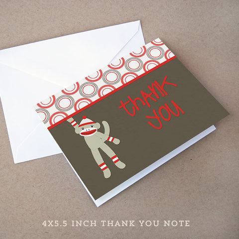 sock monkey baby shower thank you note